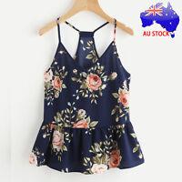 AU Women Plus Floral Casual Sleeveless Crop Top Vest Tank Shirt Blouse Cami Tops