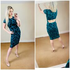 Topshop 10 Green Leopard Print Midi Backless Dress Bodycon Tight