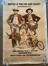 1974 Butch Cassidy & The Sundance Kid 40x60 Authentic Large Theater Poster Rare