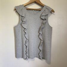 Madewell Knit Top Small Ruffles Grey Tank Sleeveless Pretty