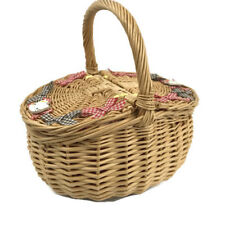 Hello Kitty Sanrio Wicker Basket Picnic Purse Handbag Rare OOAK 1990s