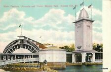 C-1910 Music Pavilion Fountain Tower Flags KANSAS CITY MISSOURI Postcard 16-115