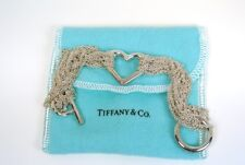 TIFFANY & CO Sterling Multi 10 STRAND HEART TOGGLE Bracelet * Tiffany Pouch