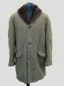 Vintage 1950's Allied Clothiers New York Tweed Lined Car Coat XL