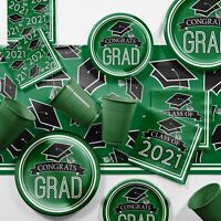 Green 2021 Graduation Party Supplies Kit Serves 18 Guests
