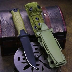 Drop Point Knife Serrated Fixed Blade Hunting Tactical Survival Carbon Steel Cut