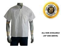 Indian Men's 100% Cotton Shirt Kurta Short Plus Size White Solid Half Sleeve