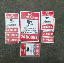 VIDEO SURVEILLANCE Security Decal  Warning Sticker (no trespassing)set of 8 pcs