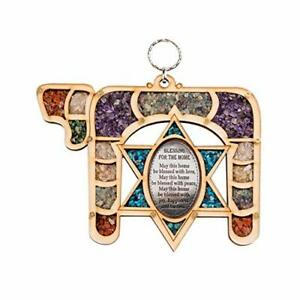 Wall Mount Home English Blessing Judaica Gift Jewish with Semi-Precious Stones