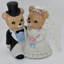 Ceramic Teddy Bear Bride/Groom Wedding Cake Topper Figurine Homco #1424