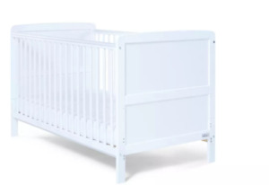 Baby Elegance Travis Cot Bed including Mattress - White/78546+9658