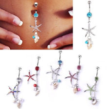 Belly Button Ring Navel 14g Starfish and Pearl Seashell Double Dangle