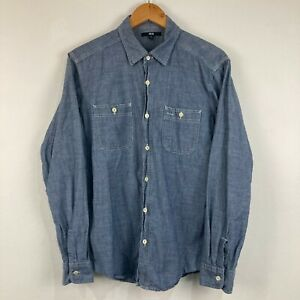 Uniqlo Mens Button Up Shirt Size M Medium Blue Long Sleeve Collared