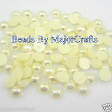 200pcs 8mm Cream Ivory AB Flat Back Half Round Resin Pearls Scrapbook Gems C02