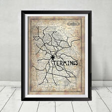 The Walking Dead Terminus Map Prop Gift Negan Daryl Rick Poster Print Lucille