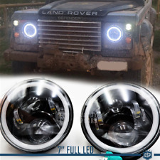 "Coppia FARI 7"" Anteriori FULL LED PER Land Rover Defender 6500K DRL Angel Eyes"