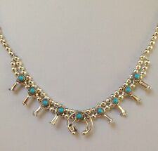 """Navajo Sterling Turquoise Baby Squash Blossom Necklace 16.5"""" Signed Larry Curley"""