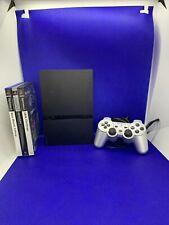 PlayStation 2 Slim Schwarz Mit Allen Controllern, Kabeln   und Drei Spielen  Ps2