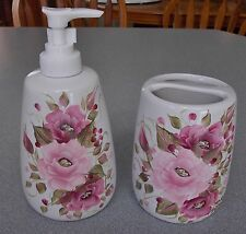 HP ROSE/ROSES SOAP DISPENSER/LOTION & TOOTH BRUSH HOLDER