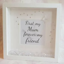 """""""First my mum, forever my friend"""" 3d box with faux diamonds & diamante"""