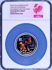 2017 ANDA EXPO PROOF Colored Silver Lunar Year of the Rooster NGC PF69 2oz Coin