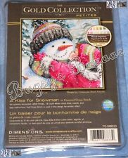 Dimensions Gold Petites A KISS FOR SNOWMAN Counted Cross Stitch Picture Kit