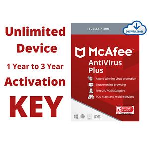 McAfee Premium Antivirus Plus Subscription 2021 Unlimited Device 1, 2, 3 Year