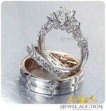 14k White Gold 2.00 CT Diamond His Her Wedding Trio Set Bridal Engagement Ring