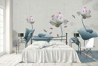 3D Lotus Dragonfly R551 Wallpaper Wall Mural Self-adhesive Commerce Kay