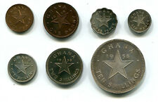 Ghana 1/2, 1, 3, 6 Pence, Shilling, 2 Shillings & Crown 1958 all VIP Proof Coins