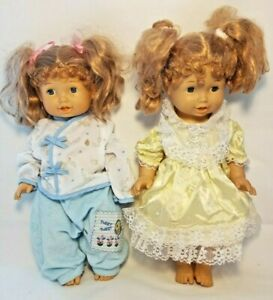 """Set of 2 Matching 1996 Unimax Toys Little Girl / Toddler Twin 14"""" Plastic Dolls"""