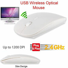 White Wireless Mouse Slim 2.4Ghz Cordless USB Receiver Windows PC Mac DPI Button