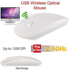 White Wireless Mouse Slim 2.4Ghz Cordless USB Receiver Windows PC Mac DPI Button