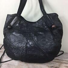 Lucky Brand Black Leather Shoulder Bag Purse Italian Lamb Floral Embossed Medium