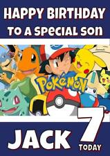 POKEMON PERSONALISED BIRTHDAY CARD - ANY NAME, AGE, RELATION
