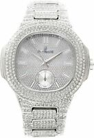 Men Iced Watch Silver Bling Rapper Simulate Lab Diamond ALL Over Band Luxury NEW
