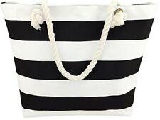 Canvas White & Black Striped Summer Beach Tote Bag Purse W/ Zipper & Rope Handle