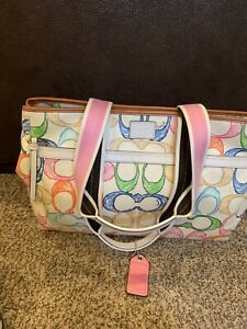 coach Leather and Fabric double strapped bag multicolor NWT