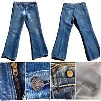 "Vintage Plain Pockets Jeans Talon 42 Zipper Flare Leg 70s 33"" Waist"