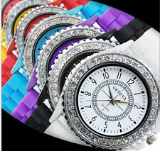 Geneva Crystal Jewels Women Fashion Quartz Wrist Watch Light Silicone Jelly Girl