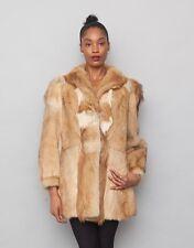 Vintage 60's White Golden Brown Real Coyote Fox Fur Genuine Coat Collar Jacket