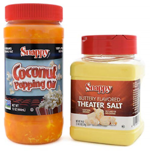 Snappy Pure Colored Coconut Popping Oil, 15 oz, Buttery Flavored Theater Popcorn