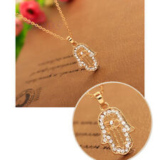 Lucky Lady Hamsa Necklace Fatima Hand Pendant Rhinestone Golden Chain Charm