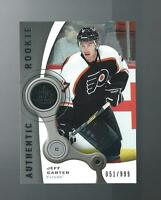 JEFF CARTER SP GAME USED AUTHENTIC ROOKIE CARD  # 113 SERIAL NUMBERED FLYERS