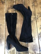Tahari Knee High Faux Soft Suede Heeled Boots Grace 9 M Black