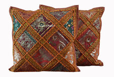 Indian Vintage Cushion Cover Set of 2 Pillow Cotton Patchwork Zari Handmade gh5