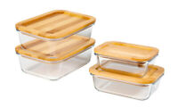 Glass Storage Set With Airtight Bamboo Lids - 4 Glass Container Set With Lid