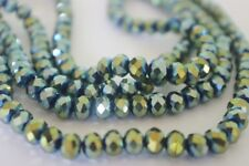 100 pce Tanzanite Metallic Green Electroplate Faceted Abacus Glass Beads 6mmx5mm