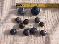 Vintage Marble Lot 11 German Blue Bennington Marbles Different Sizes