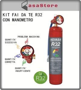 GAS R32 REFRIGERANTE RICARICA CLIMATIZZATORI KIT FAI DA TE CON MANOMETRO